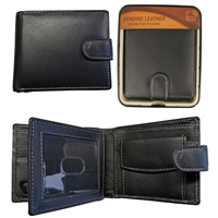 RFID Sheep Leather Wallet in Tin Black with Contrasting Stitching