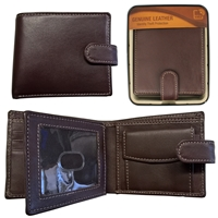 RFID Sheep Leather Wallet in Tin Brown with Contrasting Stitching