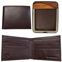 RFID Sheep Leather Bill Fold Wallet in Tin Brown