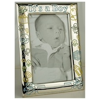 8878CI Its A Boy Frame 4x6 Coloured Silverplate