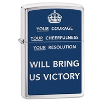 Zippo Lighter Brushed Chrome Your Courage