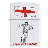Zippo White Matte Lighter 214COE Come On England