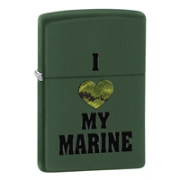 Zippo Green Matte Lighter I Love My Marine