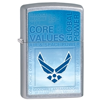 Zippo Lighter Street Chrome USAF Core Values