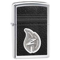 Zippo Lighter High Polish Chrome, Z Leather Stitching