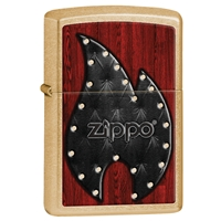 Zippo Lighter, Gold Dust Leather Flame