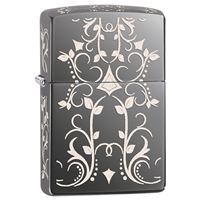 Zippo Lighter, Black Ice Filigree Pattern