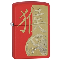 Zippo Lighter, Year Of The Monkey, Red Matte