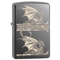 Zippo Black Ice Lighter Anne Stokes -  Dragons