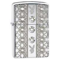 Zippo High Polish Chrome Lighter Armor Playboy Jewelled
