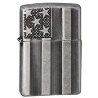 Zippo Antique Silver Plate Lighter, Armor US Flag