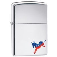 Zippo Lighter High Polish Chrome, Democrat