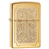 Zippo High Polish Brass Lighter, Armor
