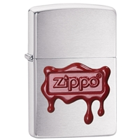 Zippo Brushed Chrome Lighter - Zippo Red Wax Seal
