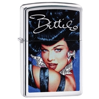Zippo Lighter Brushed Chrome Bettie Page, Blue