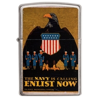 Zippo Lighter Brushed Chrome U.S. Navy, Poster - ….Enlist Now