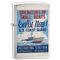 Zippo Lighter Brushed Chrome  U.S. Coast Guard, Poster …. Enlist Now…