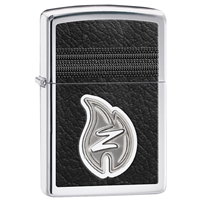 Zippo Lighter, Z Leather Stitching, High Polish Chrome