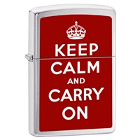 Zippo Lighter, Brushed Chrome Keep Calm And Carry On