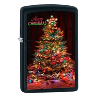 Zippo Black Matte Lighter Christmas Tree