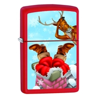 Zippo Red Matte Lighter Upside Down Santa