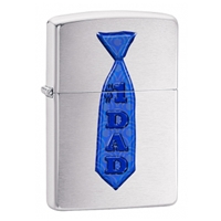Zippo Brushed Chrome Lighter Dad Blue Tie