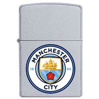 Zippo Satin Chrome Lighter Manchester City FC