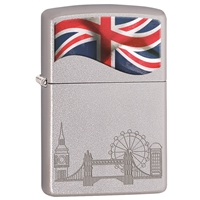 Zippo Satin Chrome Lighter Union Jack & London Landmarks