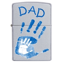 Zippo Satin Chrome Lighter Dad Handprints