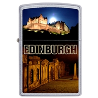 Zippo Satin Chrome Lighter Edinburgh Castle