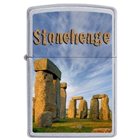 Zippo Satin Chrome Lighter Stonehenge