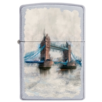 Zippo Satin Chrome Lighter Tower Bridge