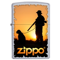 Zippo Satin Chrome Lighter Hunter With Dog