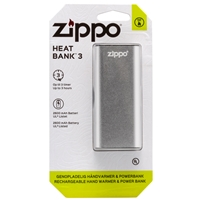 Zippo Heatbank 3 Hour, Rechargable Handwarmer & Power Bank, Silver (Blister Pack)