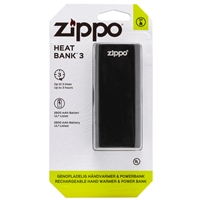 Zippo Heatbank 3 Hour, Rechargable Handwarmer & Power Bank, Black (Blister Pack)