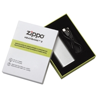 Zippo Heatbank 3 Hour, Rechargable Handwarmer & Power Bank, Silver (Gift Box)
