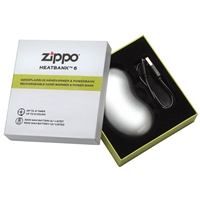 Zippo Heatbank 6 Hour, Rechargable Handwarmer & Power Bank, Silver (Gift Box)