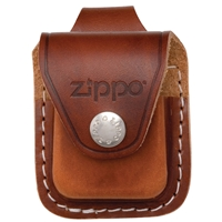 Zippo Brown Leather Lighter Pouch With Loop LPLB
