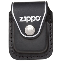 Zippo Black Leather Lighter Pouch With Clip LPCBK