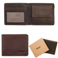 Zippo Leather, Bi-Fold Wallet With Coin Pocket Brown 2005119