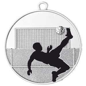 50mm Football Shadow Medal - Silver