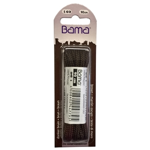 Bama Blister Packed Polyester Laces 90cm Hiking Cord 033 Brown  6 Pair Pack