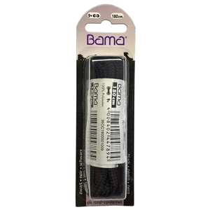 Bama Blister Packed Polyester Laces 180cm Hiking Cord 009 Black 6 Pair Pack