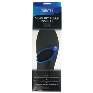 Birch Memory Foam Insoles Gents Size 11-12, Euro 45-46