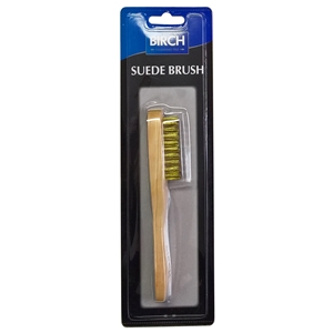 BIRCH Wood Handle Wire Suede Brush Blister Pack