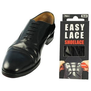 Easy Lace Silicone Shoelaces - Round Black - Box Of 20 Pieces