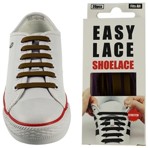 Easy Lace Silicone Shoelaces - Flat Brown - Box Of 20 Pieces