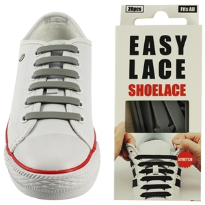 Easy Lace Silicone Shoelaces - Flat Grey - Box Of 20 Pieces