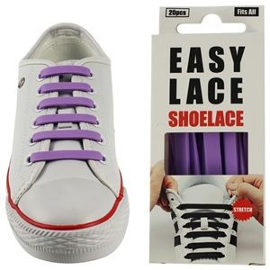 Easy Lace Silicone Shoelaces - Flat Purple - Box Of 20 Pieces