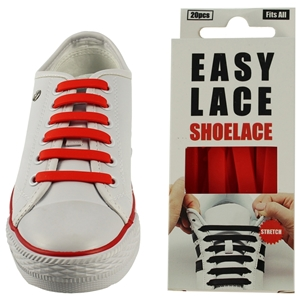 Easy Lace Silicone Shoelaces - Flat Red - Box Of 20 Pieces
